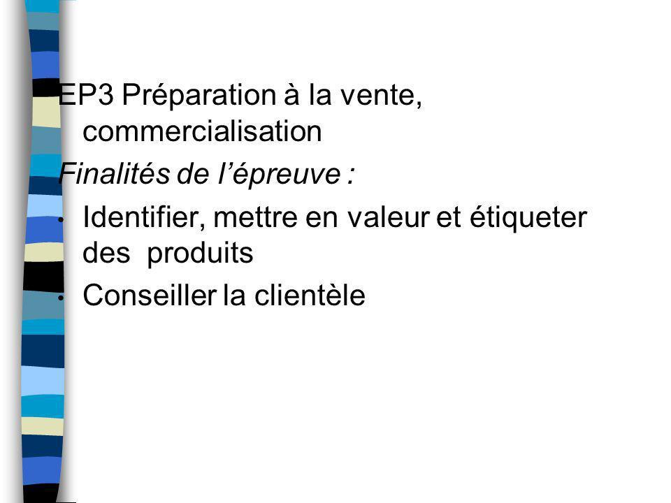 EP3 Préparation à la vente, commercialisation Finalités de l'épreuve :