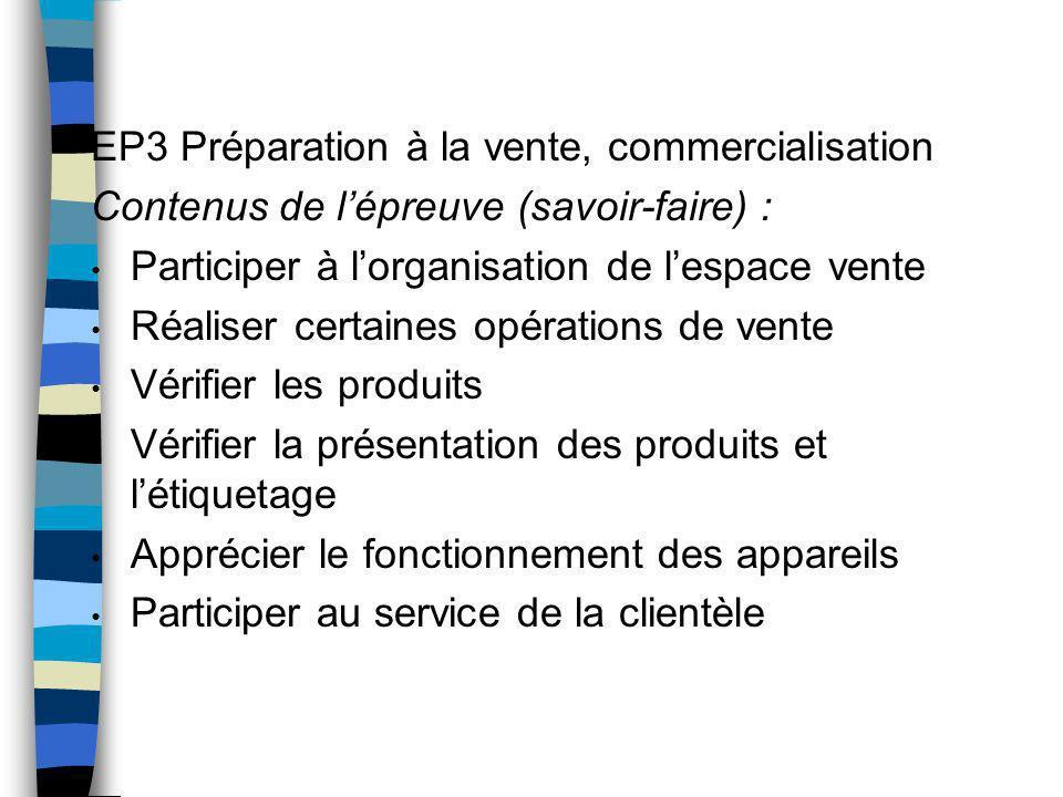 EP3 Préparation à la vente, commercialisation