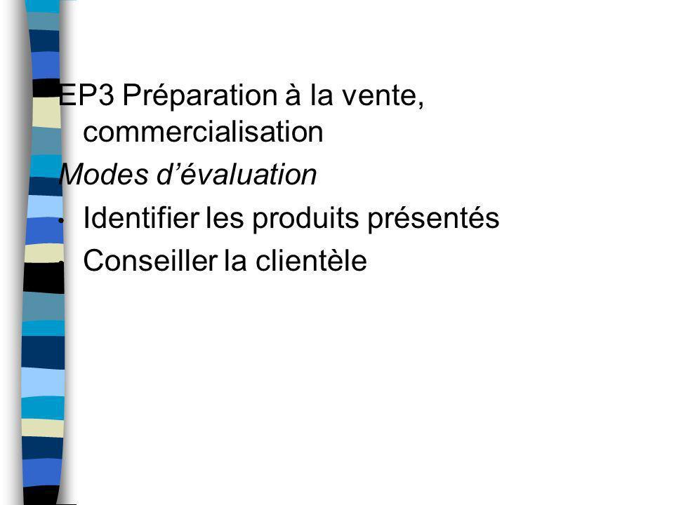 EP3 Préparation à la vente, commercialisation Modes d'évaluation