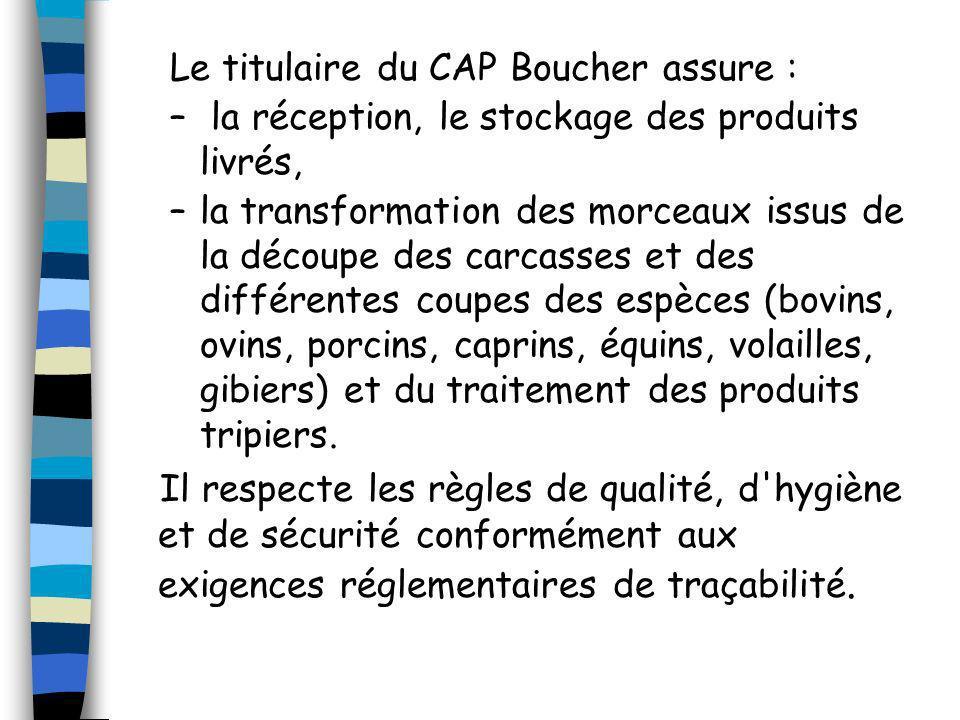 Le titulaire du CAP Boucher assure :