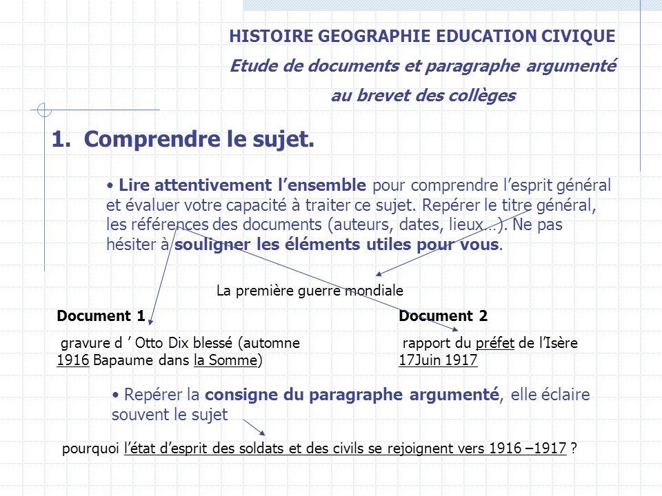 Comprendre le sujet. HISTOIRE GEOGRAPHIE EDUCATION CIVIQUE