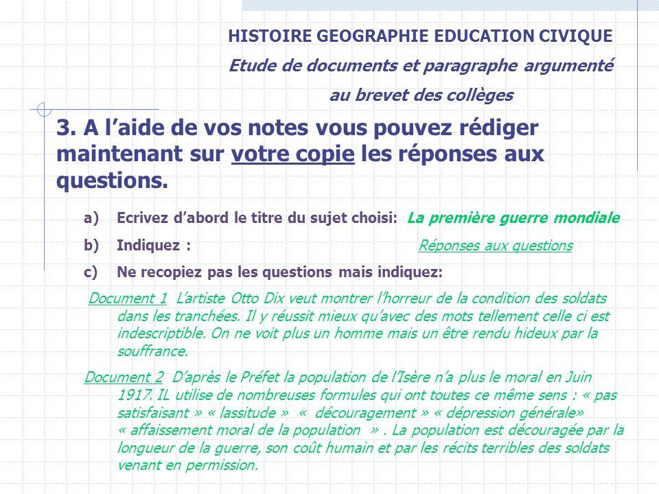 HISTOIRE GEOGRAPHIE EDUCATION CIVIQUE