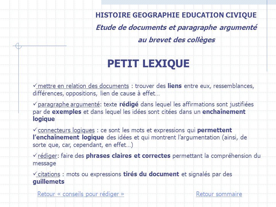 PETIT LEXIQUE HISTOIRE GEOGRAPHIE EDUCATION CIVIQUE