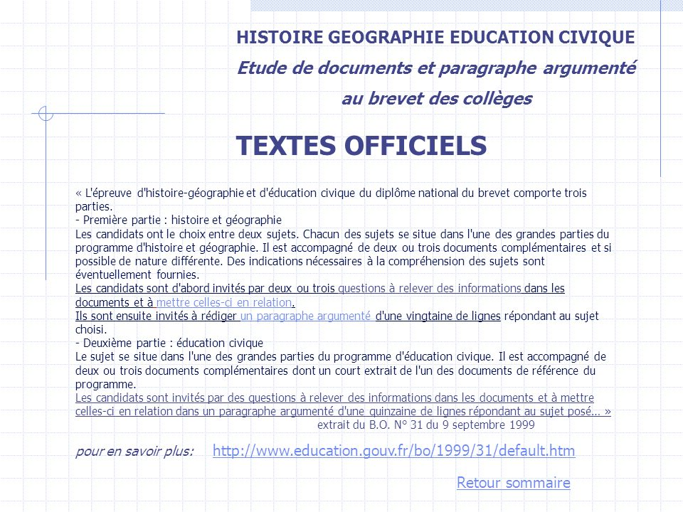 TEXTES OFFICIELS HISTOIRE GEOGRAPHIE EDUCATION CIVIQUE