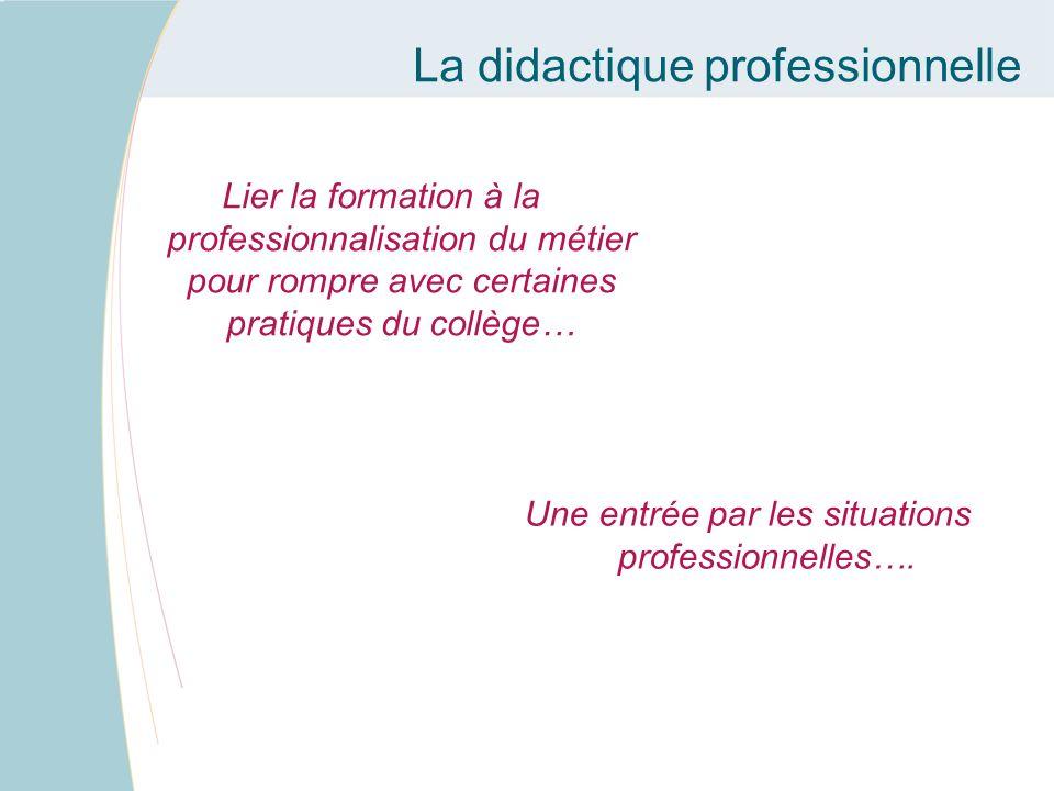 Une entrée par les situations professionnelles….