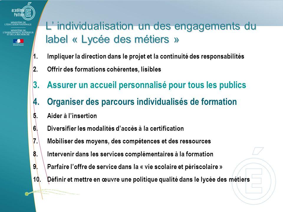 L' individualisation un des engagements du label « Lycée des métiers »