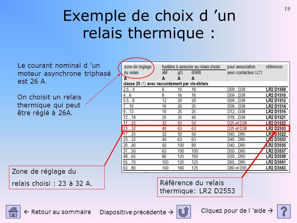 Exemple de choix d 'un relais thermique :