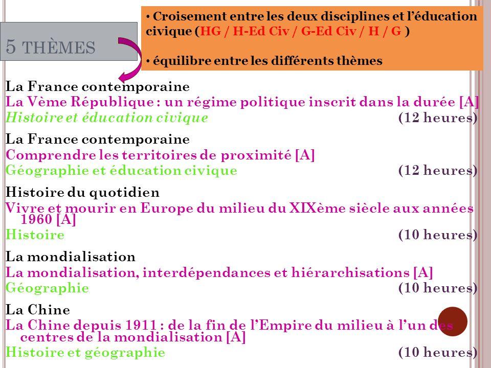 Croisement entre les deux disciplines et l'éducation civique (HG / H-Ed Civ / G-Ed Civ / H / G )