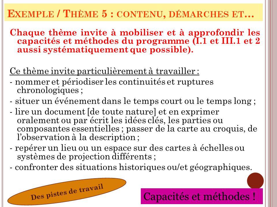 Exemple / Thème 5 : contenu, démarches et…