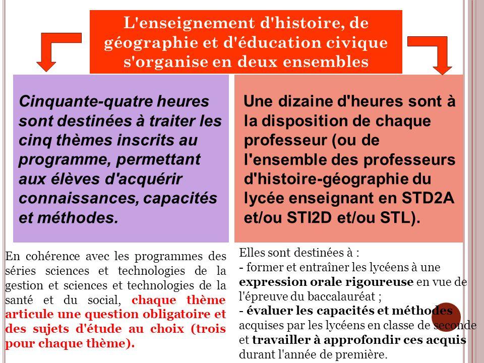 L enseignement d histoire, de géographie et d éducation civique s organise en deux ensembles