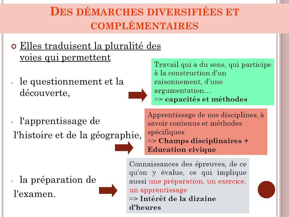 Des démarches diversifiées et complémentaires