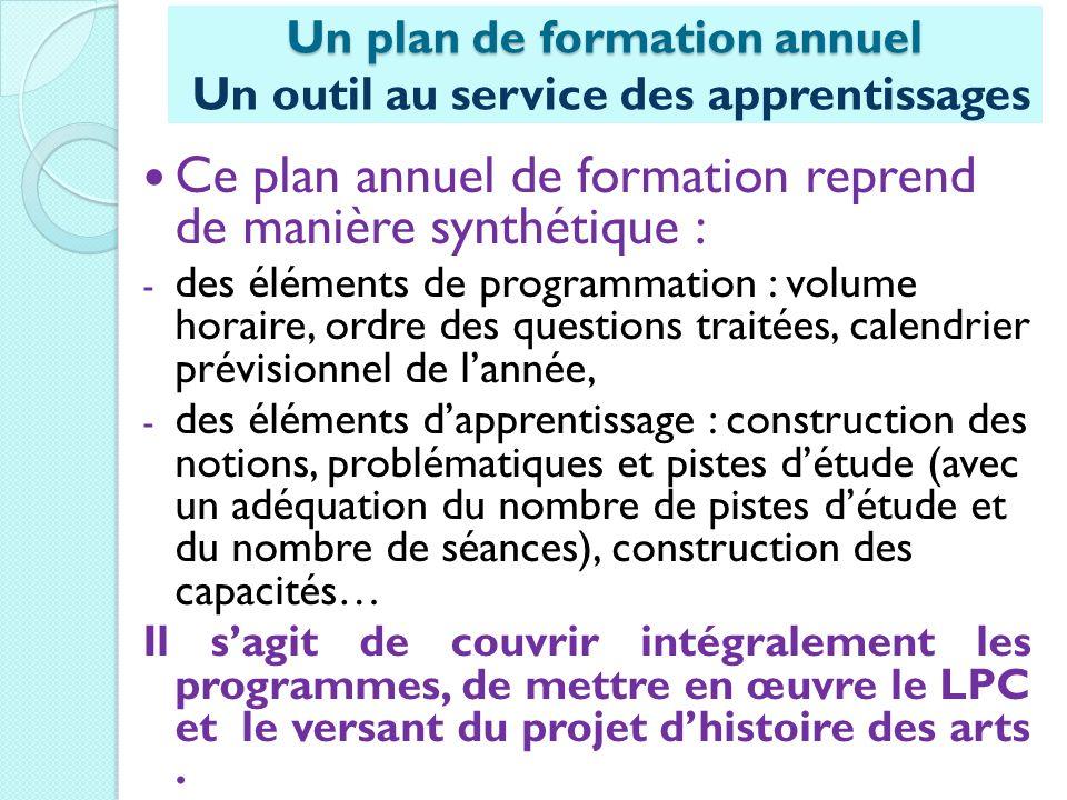 Un plan de formation annuel Un outil au service des apprentissages