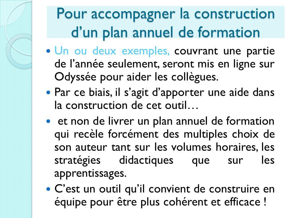 Pour accompagner la construction d'un plan annuel de formation