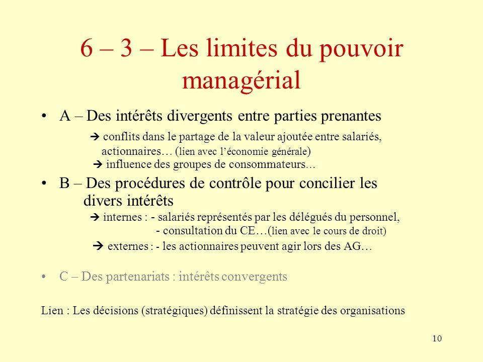 6 – 3 – Les limites du pouvoir managérial