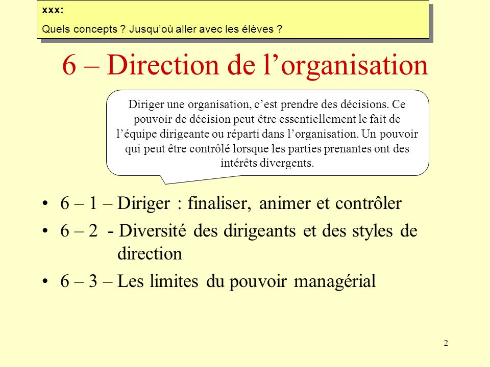 6 – Direction de l'organisation