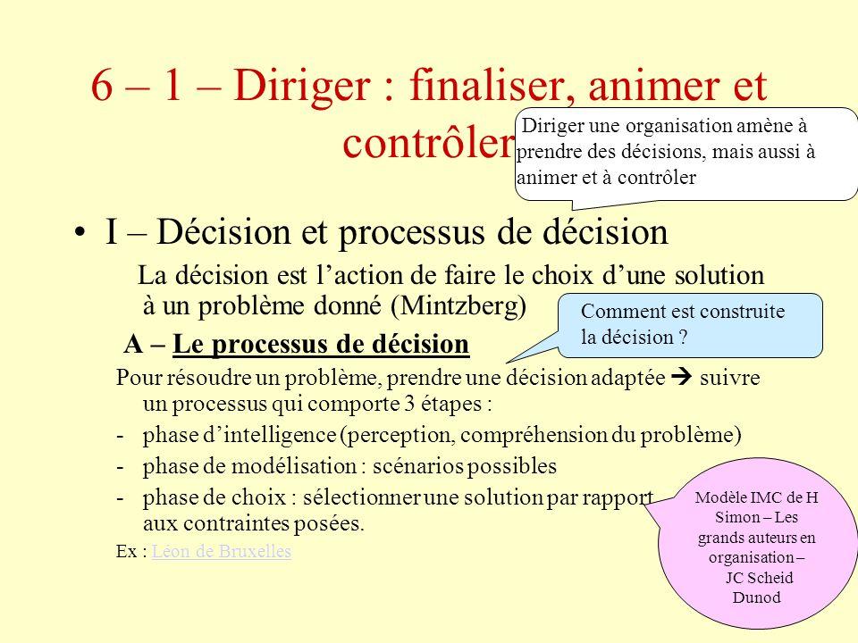 6 – 1 – Diriger : finaliser, animer et contrôler