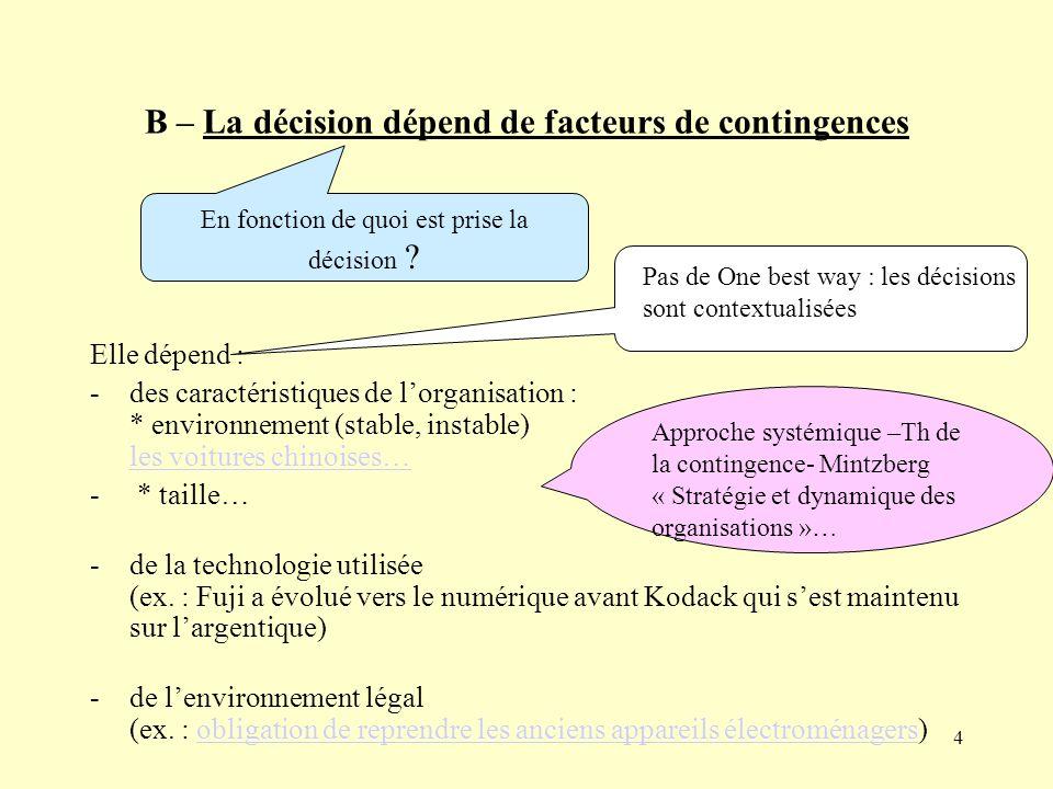 B – La décision dépend de facteurs de contingences