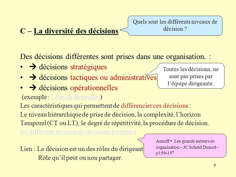C – La diversité des décisions