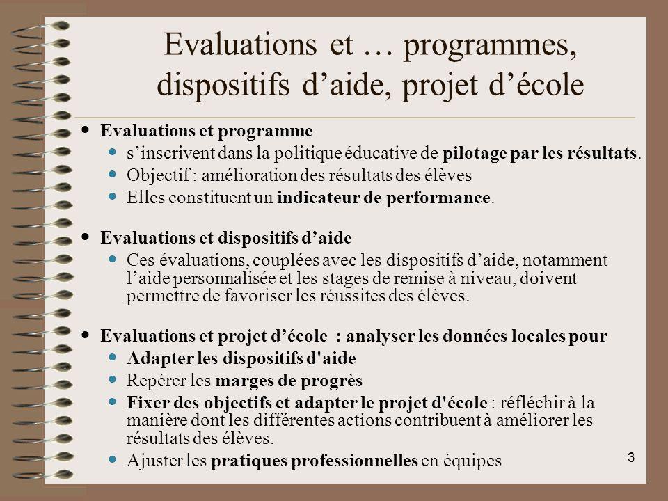 Evaluations et … programmes, dispositifs d'aide, projet d'école