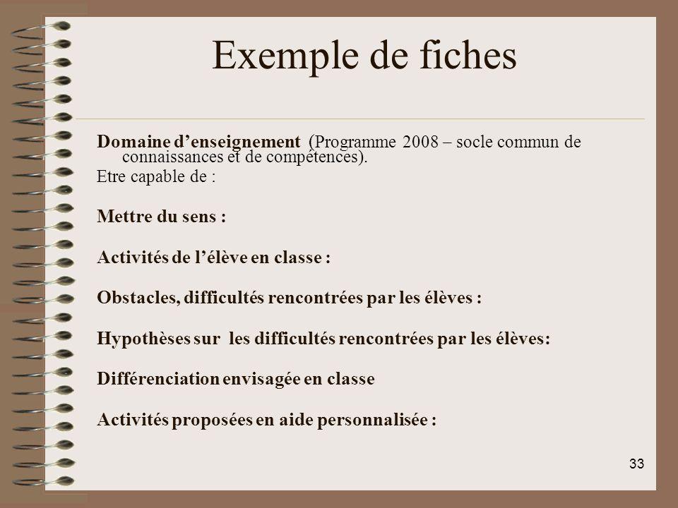 Exemple de fiches Domaine d'enseignement (Programme 2008 – socle commun de connaissances et de compétences).