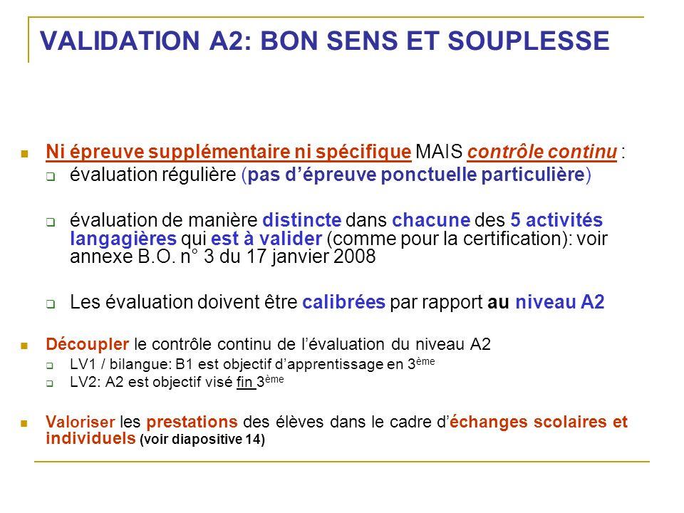 VALIDATION A2: BON SENS ET SOUPLESSE