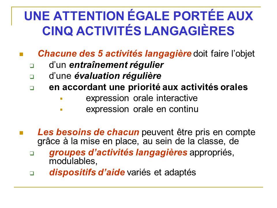 UNE ATTENTION ÉGALE PORTÉE AUX CINQ ACTIVITÉS LANGAGIÈRES