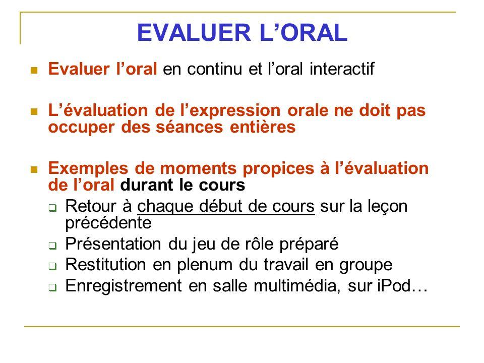 EVALUER L'ORAL Evaluer l'oral en continu et l'oral interactif