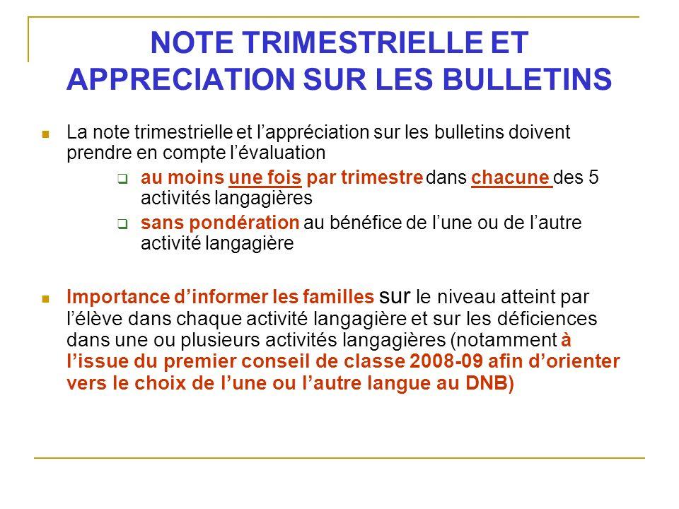 NOTE TRIMESTRIELLE ET APPRECIATION SUR LES BULLETINS