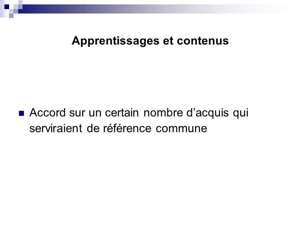 Apprentissages et contenus