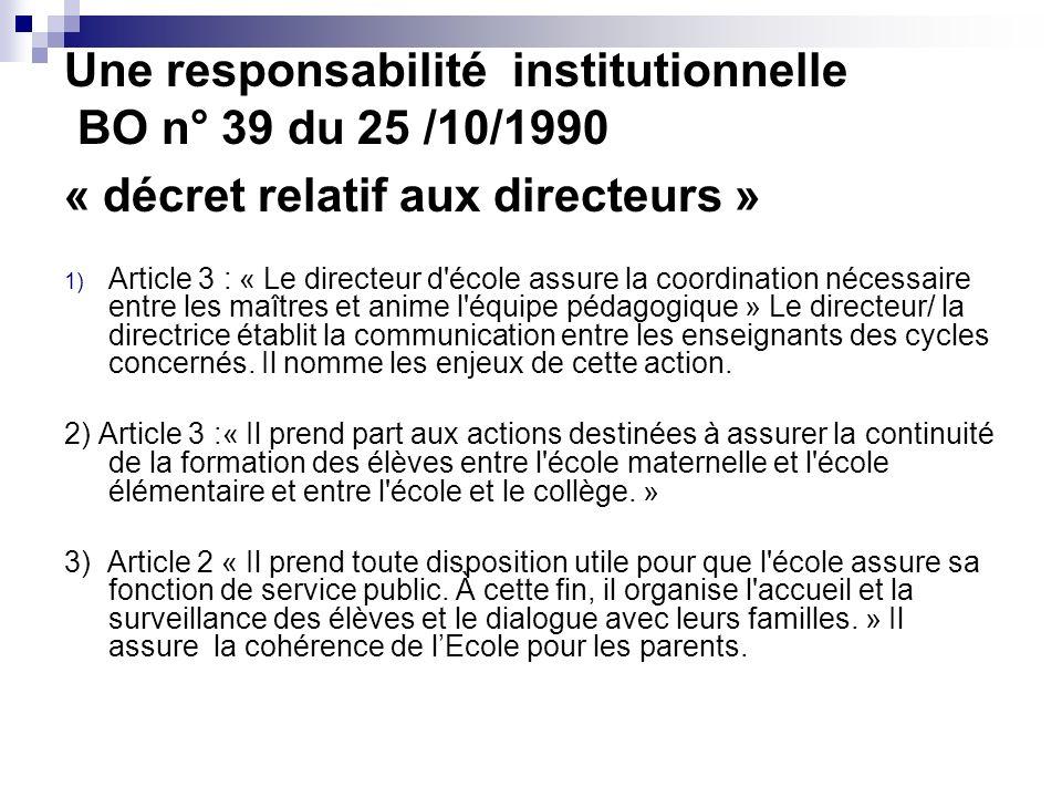 Une responsabilité institutionnelle BO n° 39 du 25 /10/1990 « décret relatif aux directeurs »