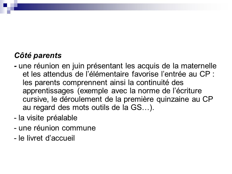 Côté parents