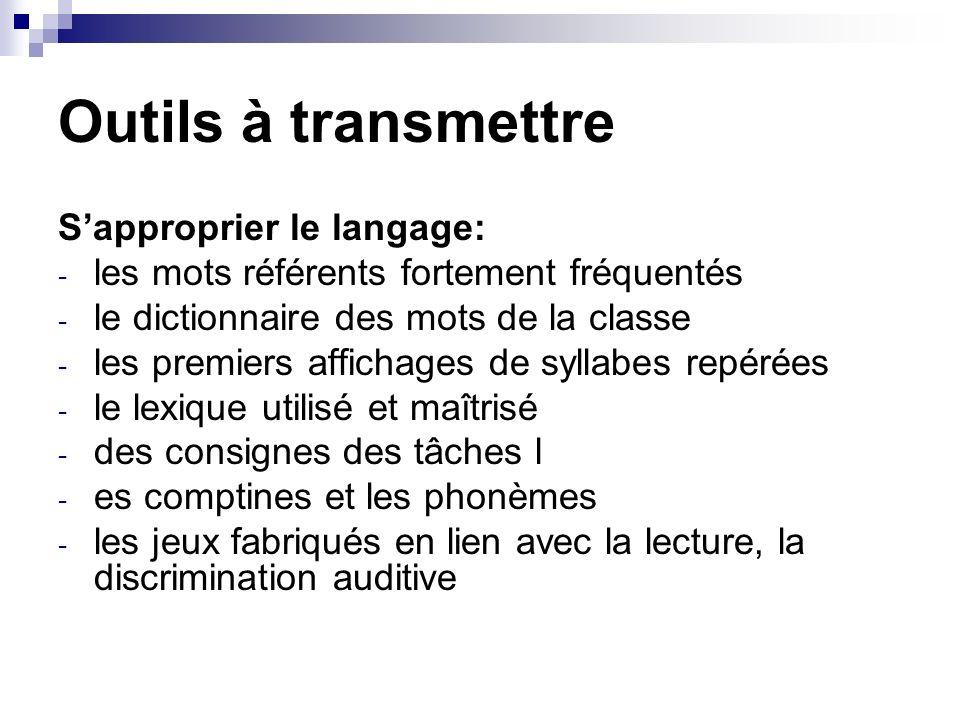 Outils à transmettre S'approprier le langage: