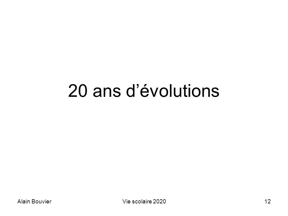 20 ans d'évolutions Alain Bouvier Vie scolaire 2020