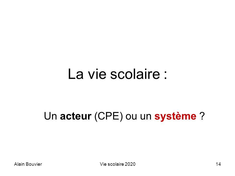 Recteur Alain Bouvier Un acteur (CPE) ou un système
