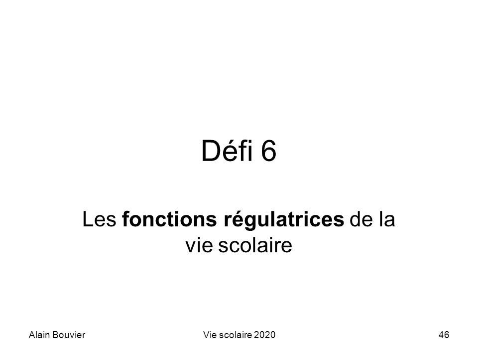 Recteur Alain Bouvier Les fonctions régulatrices de la vie scolaire