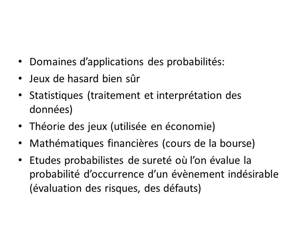 Domaines d'applications des probabilités: