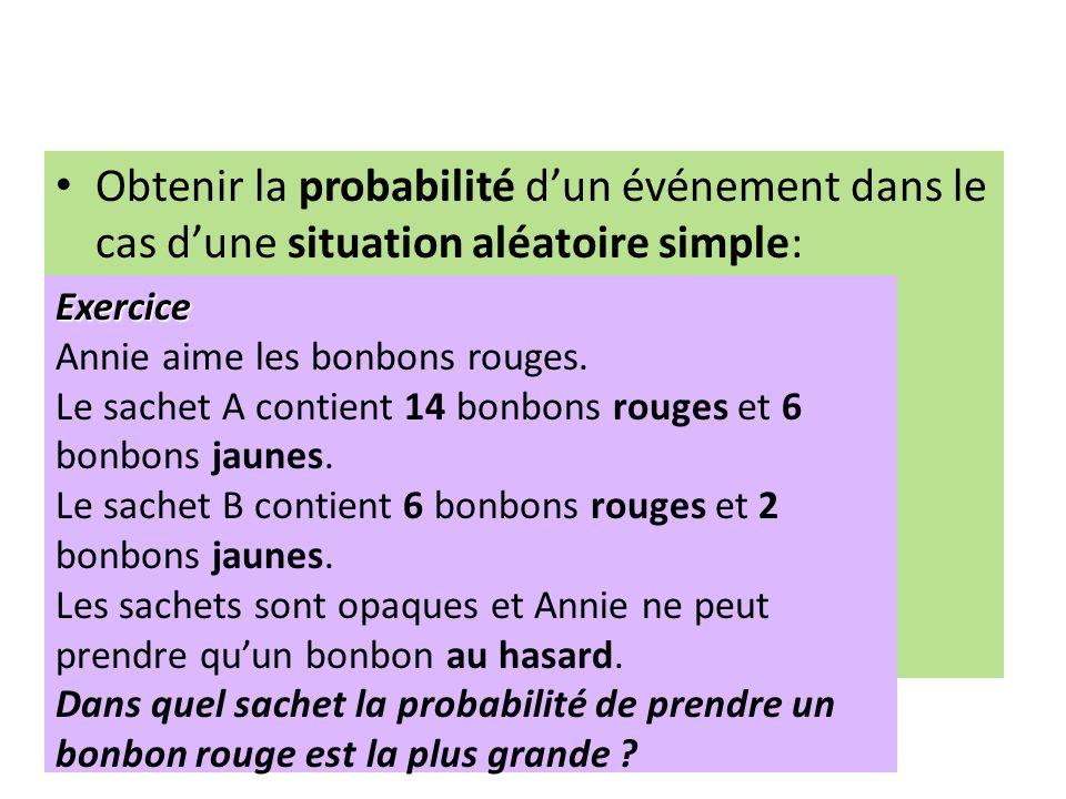 Obtenir la probabilité d'un événement dans le cas d'une situation aléatoire simple: