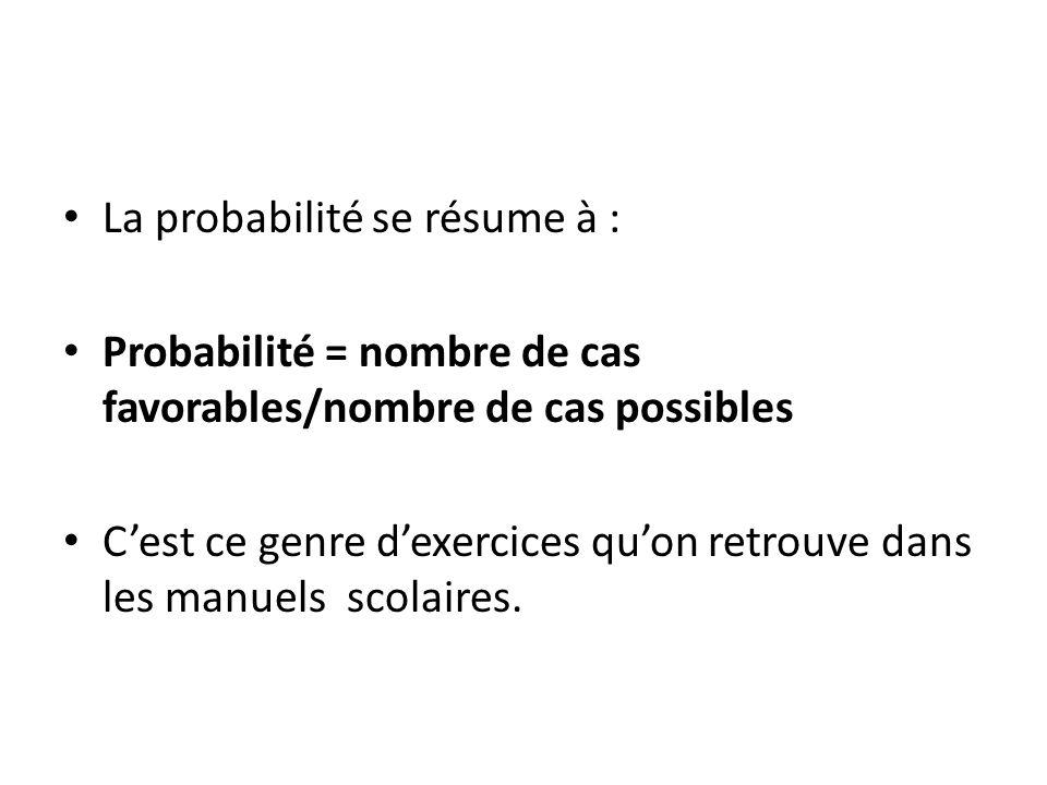 La probabilité se résume à :