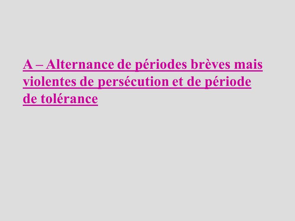 A – Alternance de périodes brèves mais violentes de persécution et de période de tolérance