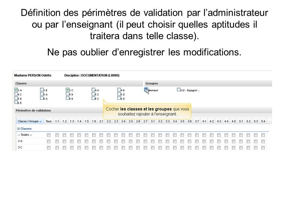 Définition des périmètres de validation par l'administrateur ou par l'enseignant (il peut choisir quelles aptitudes il traitera dans telle classe).