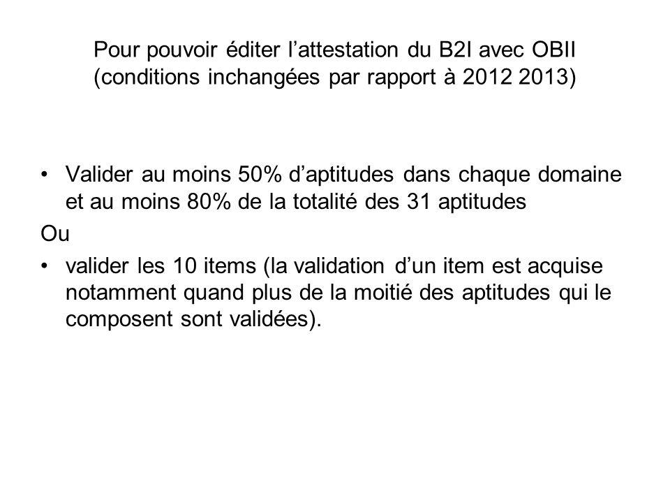 Pour pouvoir éditer l'attestation du B2I avec OBII (conditions inchangées par rapport à 2012 2013)