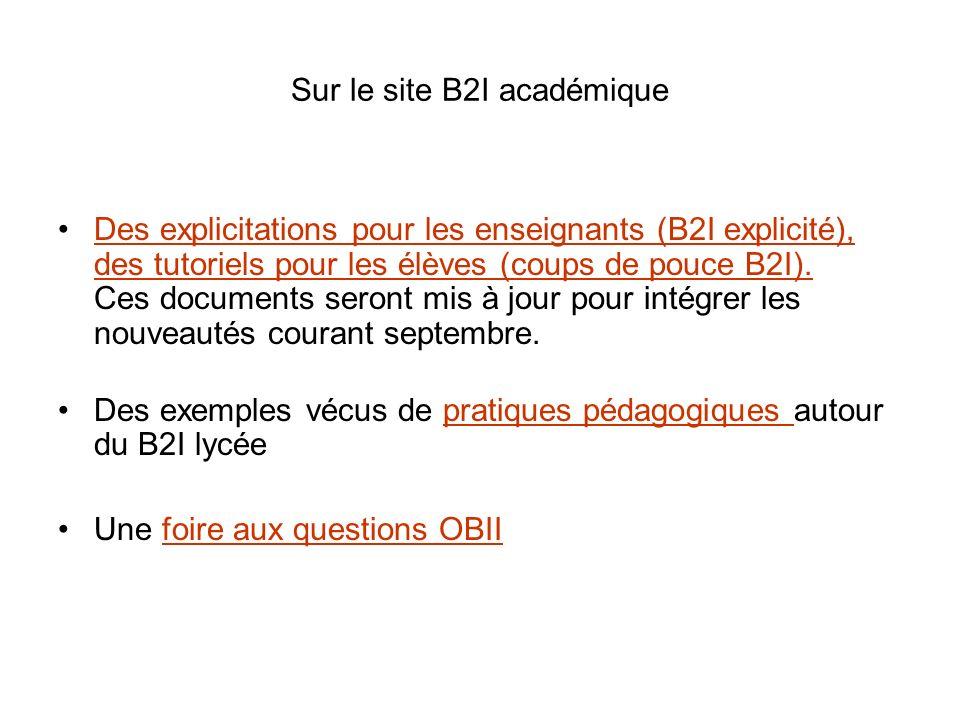 Sur le site B2I académique