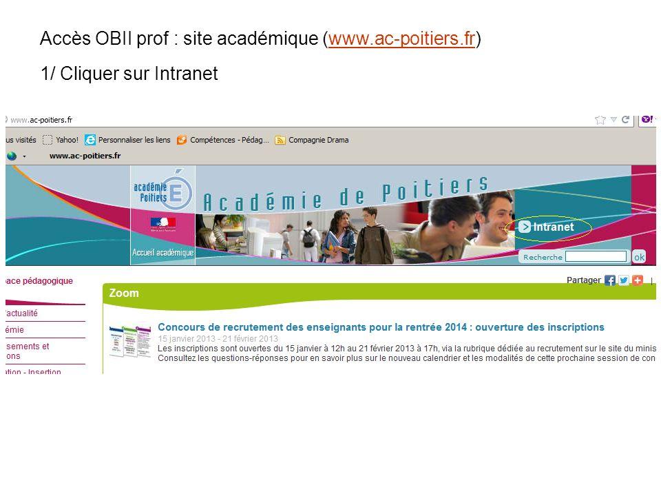 Accès OBII prof : site académique (www.ac-poitiers.fr)
