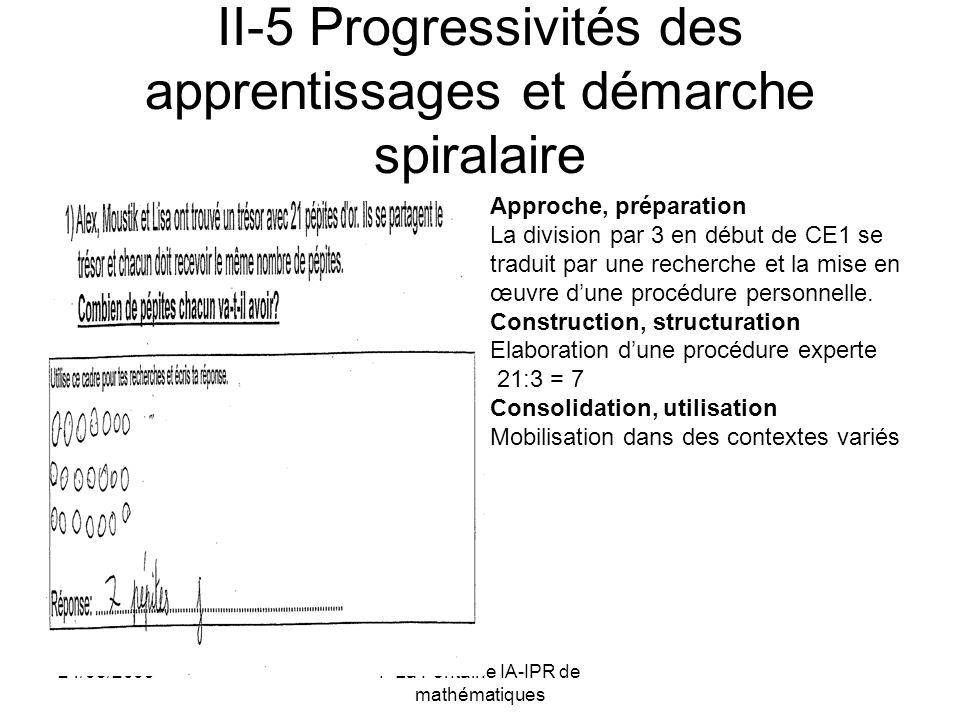 II-5 Progressivités des apprentissages et démarche spiralaire