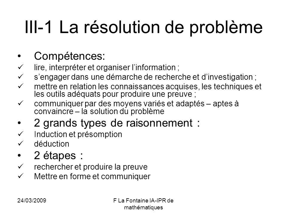 III-1 La résolution de problème