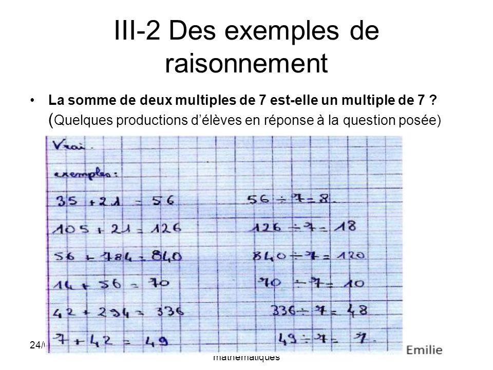 III-2 Des exemples de raisonnement