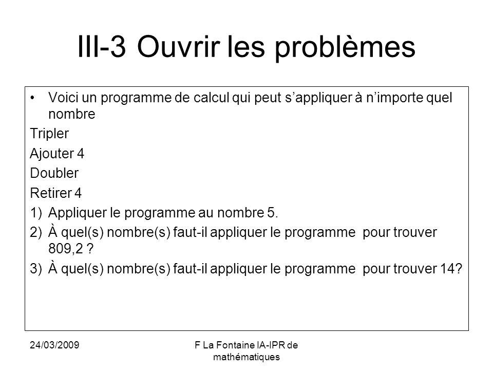 III-3 Ouvrir les problèmes