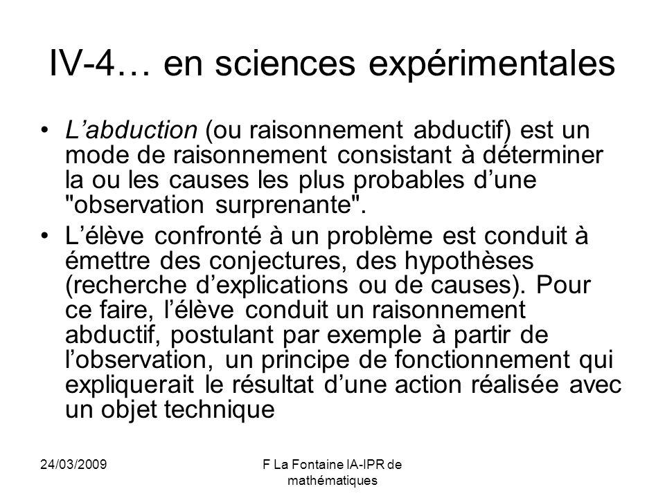 IV-4… en sciences expérimentales
