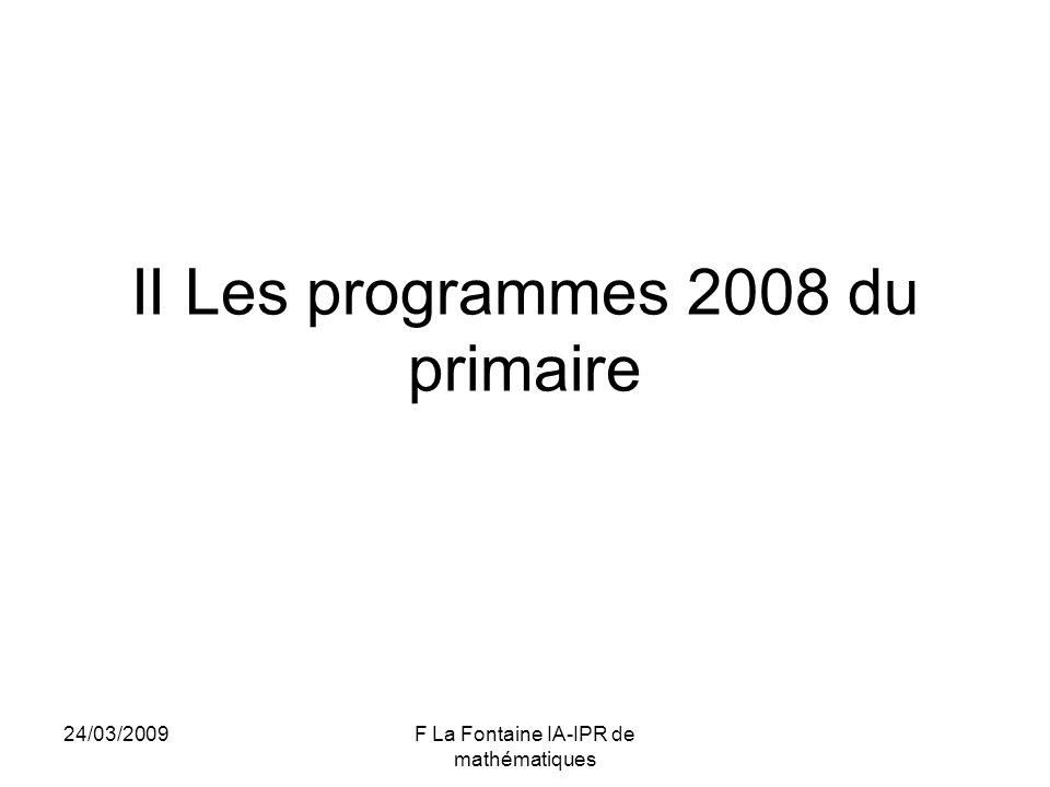 II Les programmes 2008 du primaire