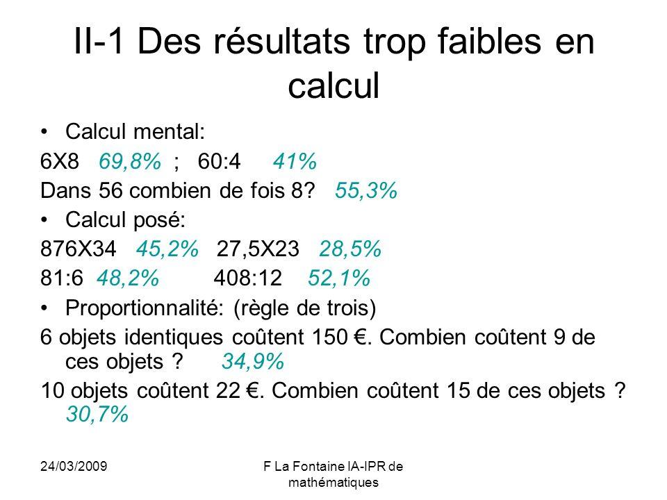 II-1 Des résultats trop faibles en calcul